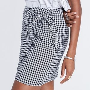 Madewell Gingham Side-Tie Wrap Skirt